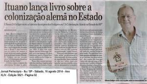 Ituano lança livro sobre colonização alemã no Est de São Paulo Jornal Periscópio