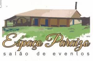 Antiga Tulha da Fazenda Paraizo, atual Espaço Paraizo Salão de Eventos - frente - com a roda d'água de origem inglesa preservada